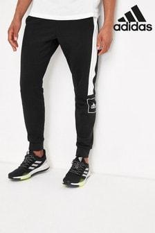adidas Black 3 Stripe Logo Slim Joggers