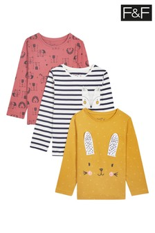 F&F Mustard Animal T-Shirts Three Pack