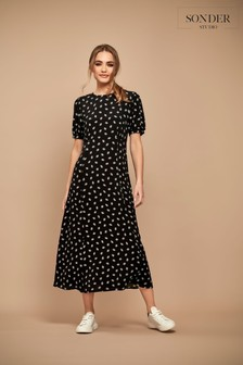 Sonder Studio Black Ditsy Midi Dress