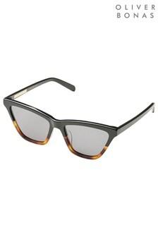 Oliver Bonas Brown Melbourne Tort Skinny Cat Eye Acetate Sunglasses