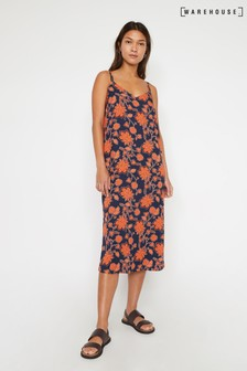 Warehouse Blue Bohemia Print Midi Cami Dress