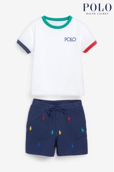 Ralph Lauren White Polo T-Shirt And Short Outfit Set