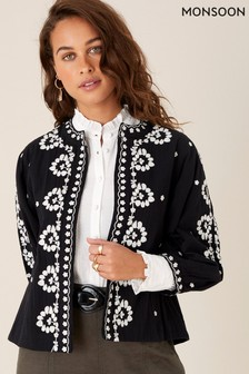Monsoon Black Floral Embroidered Organic Cotton Jacket