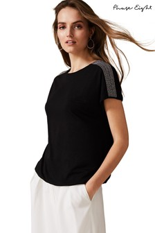 Phase Eight Black Ola Bead Shoulder Top