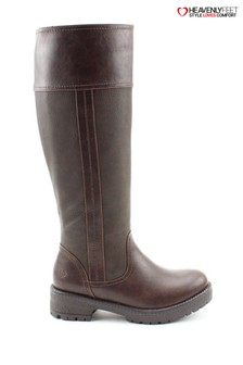 Heavenly Feet Burley6 Chocolate Tall Lace Riding Boots