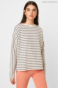 French Connection White Tim Breton Stripe Long Sleeve T-Shirt