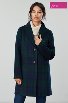 Joules Blue Costello Check Wool Blend Easy Coat