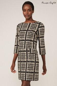 Phase Eight Black Amani Houndstooth Check Tunic Dress