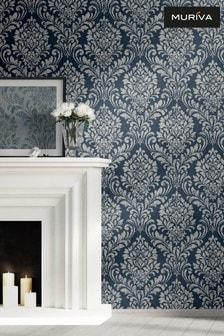 Muriva Blue Darcy James Eleanor Damask Wallpaper