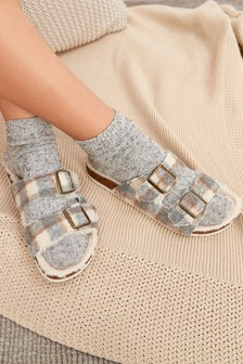 Two Band Buckle Slider Slippers