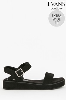 Evans Extra Wide Fit Black Flatform Sandals