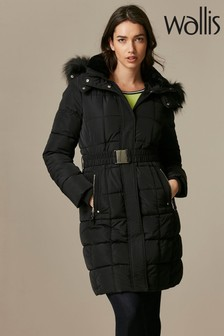 Wallis Black Faux Fur Collar Quilted Coat