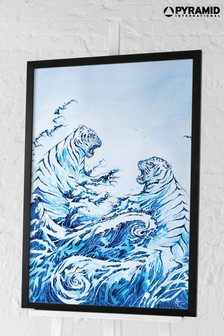Pyramid Marc Allante Crashing Waves Framed Poster