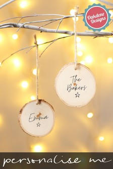 Personalised Log Slice Hanging Decoration by Oakdene Designs