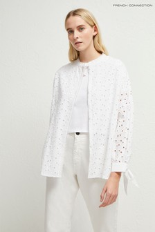 French Connection White Bodi Broidery High Neck Shirt
