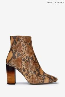 Mint Velvet Animal Lyla Snake Square Toe Boots