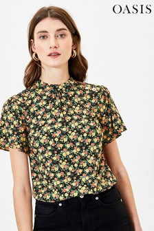 Oasis Natural Ditsy Floral Button Top