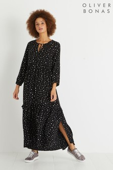 Oliver Bonas Black Star Spot Tiered Midi Dress