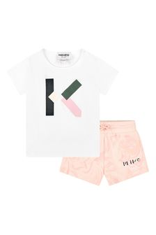 Kenzo Kids Baby Girls White Cotton Outfit