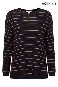 Esprit Blue Sweater With Stripes And Button Details