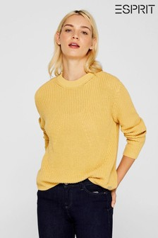 Esprit Long Sleeved Rib Structured Sweater With Round Neck