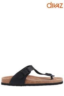 Divaz Black Ziggy Sandals