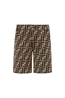 Fendi Kids Baby Boys Brown Cotton Shorts