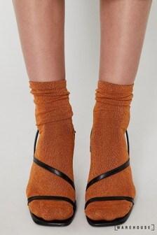 Warehouse Orange Glitter Socks