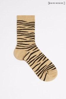 Warehouse Animal Glitter Tiger Print Socks