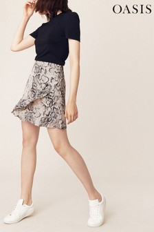 Oasis Animal Snake Frill Mini Skirt