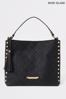 River Island Black Embossed Chain Front Slouch Bag