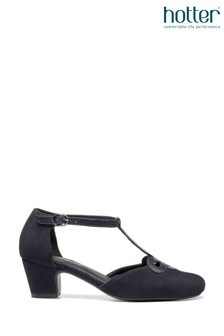 Hotter Blue Darcy Buckle Fastening T-Bar Shoes