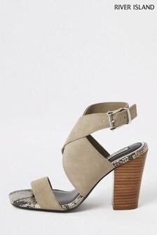 River Island Grey Block Heel Scrappy Shoes
