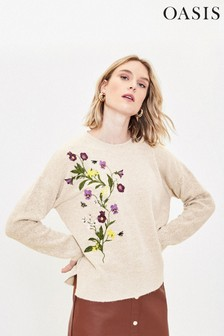Oasis Natural Embroidered Knit Jumper