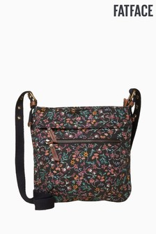 FatFace Black Doty Floral Small Canvas Cross Body Bag