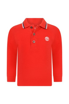 Baby Boys Red Organic Cotton Poloshirt