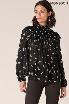 Monsoon Black Feather Print Sustainable Blouse