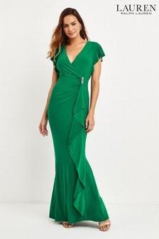 Lauren Ralph Lauren® Green Natakara Rufle Dress
