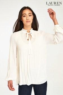 Lauren Ralph Lauren® Cream Duong Pleated Blouse