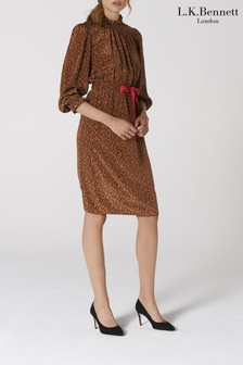 L.K. Bennett Brown Isobel Silk Dress