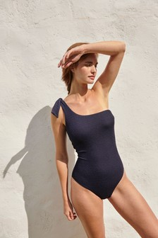 Ribbed One Shoulder Swimsuit