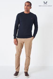 Crew Clothing Company Blue Cotton Silk Crew Neck Jumper