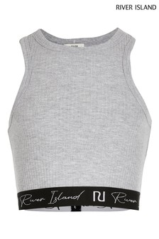 River Island Grey Light Racer Rib Crop Top