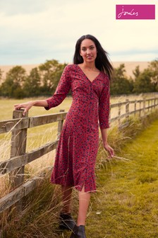 Joules Red Genevieve Button Through V-Neck Dress
