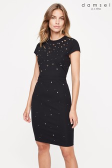 Damsel In A Dress Black Lorne Eyelet Jersey Dress