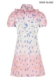 River Island Pink Medium Ri Little Shirt Dress