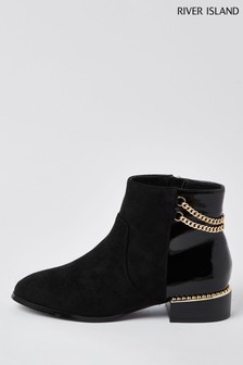 River Island Black Chain Detail Flat Boots