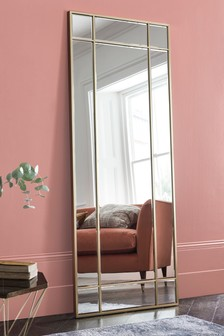 Square Metal Window Pane Floor Standing Mirror