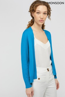 Monsoon Blue Esmie Linen Blend Cardigan