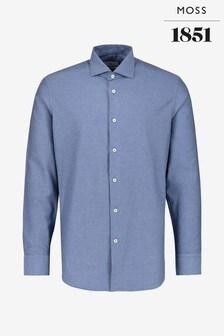 Moss 1851 Tailored Fit Navy Single Cuff Brushed Twill Shirt